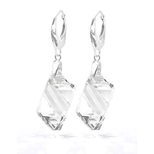GIFT BOXED! Ah! Jewellery® 22mm Cubist Clear Crystals From Swarovski Earrings. Solid Silver & Stamped 925. Easy Lever Back. Classy Little Must Have! from Ah! Jewellery