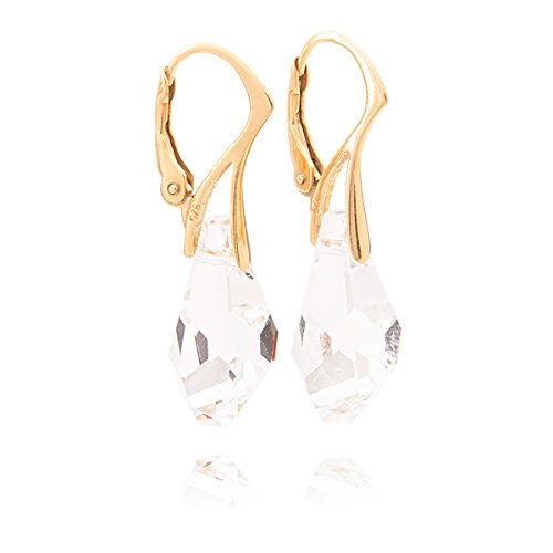 GIFT BOXED! Ah! Jewellery® Genuine 17mm Clear Polygon Drop Crystals From Swarovski Earrings. Made In Vermeil: 24K Solid Gold Over Sterling Silver. Stamped 925. from Ah! Jewellery