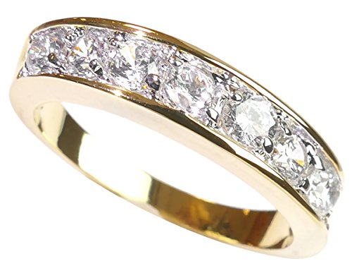 Free Engraving! Ah! Jewellery® 0.34CT Women's Channel Set Half Eternity Ring Band, Crystals From Swarovski. Gorgeous and Sparkling Little Must Have for Her! Gold Electroplated. Outstanding Quality! from Ah! Jewellery