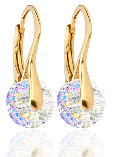 Ah! Jewellery® Hand Finished 8mm Aurore Boreale Briolette Round Crystals From Swarovski, 24K Gold Over Sterling Silver Earrings. Stamped 925. 2.6GR. Outstanding Quality. from Ah! Jewellery