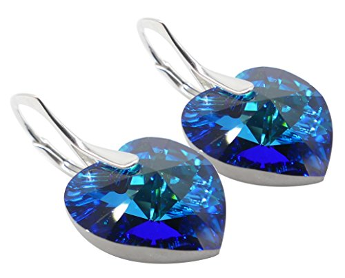 GIFT BOXED! Ah! Jewellery® Luxurious Hand Crafted Enchanting 14mm Bermuda Blue Heart Genuine Crystals From Swarovski, Sterling Silver Earrings. Exceptional Must Have! Stamped 925. from Ah! Jewellery
