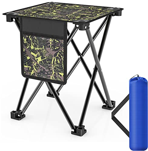 Azarxis Small Camping Folding Stool Mini Outdoor Collapsible Slacker Chairs Seat Portable Lightwight Folding Stool for Fishing Camp Traveling Hiking Beach Garden BBQ with Carry Bag