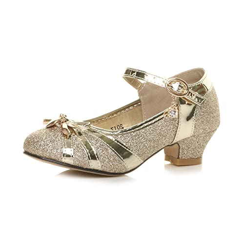Girls Kids Childrens Low Heel Diamante Bow Mary Jane Glitter Court Shoes Size 10 Gold from Ajvani