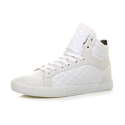 Mens Flat lace up Quilted Casual hi high top Ankle Trainer Boots Size 10 44 White from Ajvani