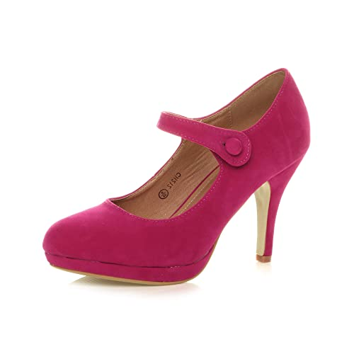 Womens Ladies mid high Heel Mary Jane Strap Evening Court Shoes Pumps, Fuchsia Suede, 5 UK from Ajvani