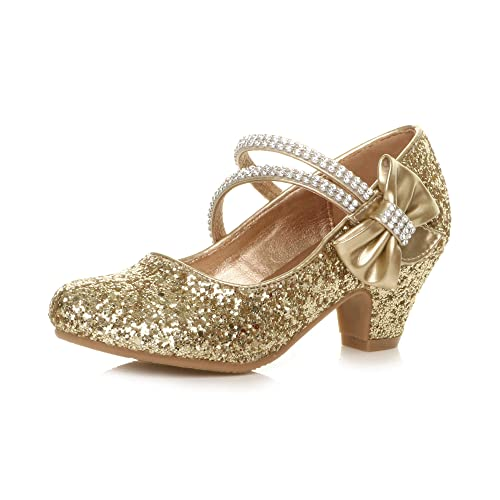 Ajvani Girls Childrens Low Heel Strap Bridesmaid Party Formal Evening Shoes, Gold Glitter Bow, 2 UK Child from Ajvani