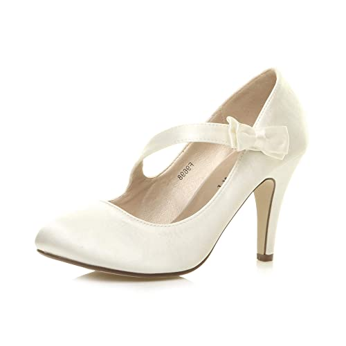 Ajvani Womens Ladies Evening Wedding Prom Party high Heel Classic Pumps Size 4 37 Ivory from Ajvani
