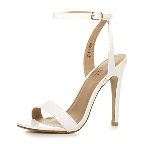Ajvani Womens Ladies high Heel Ankle Strap Barely There Strappy Sandals Shoes, 7 UK, White Matte from Ajvani