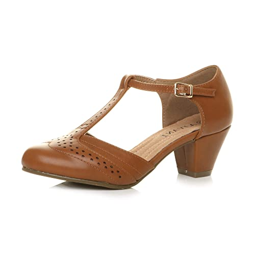 Womens Ladies mid Block Heel t-bar Cut Out Buckle Brogue Shoes Sandals, Tan Matte, 7 UK from Ajvani