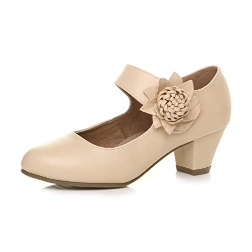 Womens Ladies mid Chunky Heel Mary Jane Flower Padded Comfort Shoes Size 6 39 Nude Beige from Ajvani
