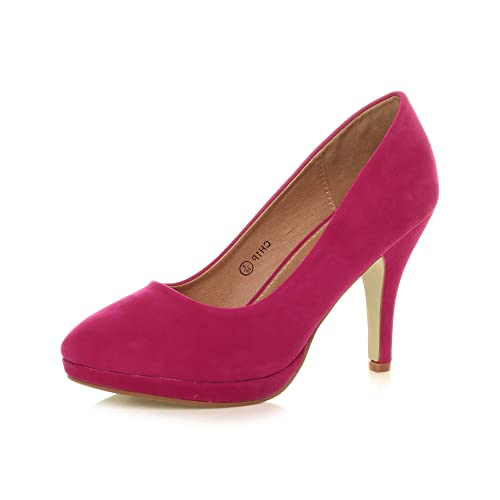 Womens Ladies mid high Heel Mary Jane Strap Evening Court Shoes Pumps, 4 UK, Fuchsia Pink Suede from Ajvani