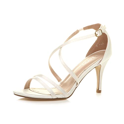 Ajvani Womens Ladies mid high Heel Strappy Crossover Wedding Sandals Shoes, Ivory Satin, 6 UK from Ajvani