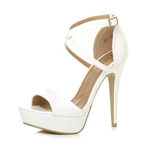 Womens Ladies Platform high Heel Peeptoe Cross Over Strappy Shoes, White Matte, 6 UK from Ajvani