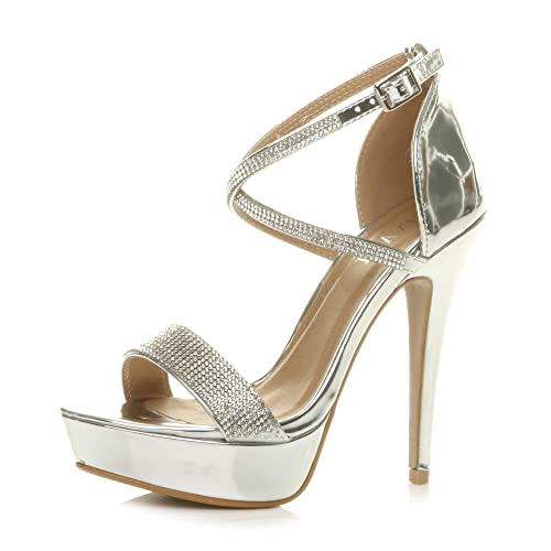 Womens Ladies mid high Heel Mary Jane Strap Evening Court Shoes Pumps, 5 UK, Silver Mirror Diamante from Ajvani