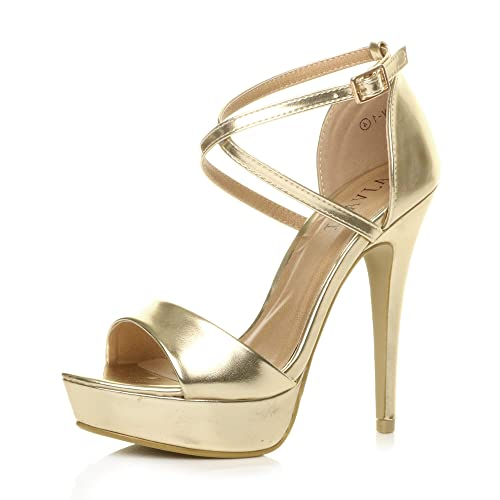 Ajvani Womens Ladies mid high Heel Mary Jane Strap Evening Court Shoes Pumps, Gold Metallic, 6 UK from Ajvani
