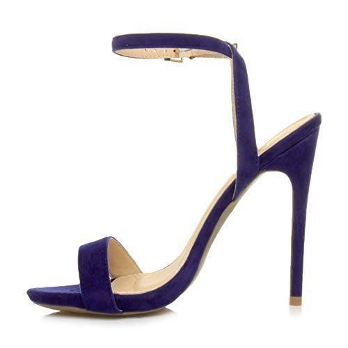 Ajvani Womens Ladies high Heel Ankle Strap Barely There Strappy Sandals Shoes Size, Cobalt Blue Suede, 5 UK from Ajvani