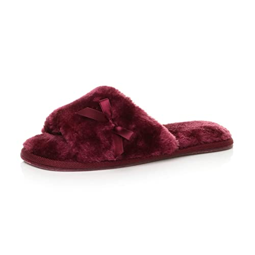 Ajvani Womens Ladies Flat peep Toe Bow Cosy Fur Lined Slip on Slippers Size 3 36 Burgundy from Ajvani