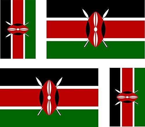 4 x Kenya Flag Stickers for Car Motorcycle Suitcase Laptop from Akacha