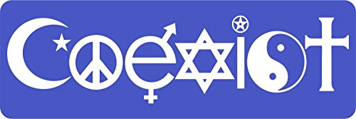 Self Adhesive Car Bike Macbook Sticker Coexist Peace Tolerance Religion Blue from Akacha