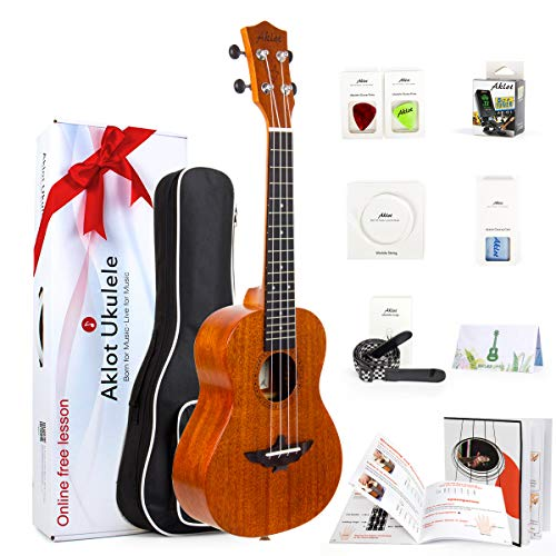 Ukulele Solid Mahogany 26In. Tenor Ukelele With Free Online Course - 8 Packs Beginner Starter Kit (Bag, Picks, Tuner, Strap, String, Cleaning Cloth, Instruction Book, Hard Carton Box) From AKLOT from Aklot