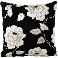 Chenille Rose Filled Cushion Black from Alan Symonds