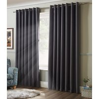 Blackout Ready Made Eyelet Curtains Silver from Alan Symonds