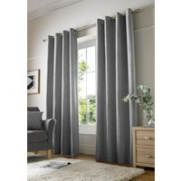 Chenille Plain Ready Made Lined Eyelet Curtains Silver from Alan Symonds