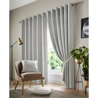 Cotswold Ready Made Lined Eyelet Curtains Silver from Alan Symonds