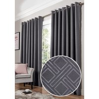 Diamond Ready Made Blackout Eyelet Curtains Charcoal from Alan Symonds