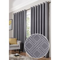 Diamond Ready Made Blackout Eyelet Curtains Silver from Alan Symonds