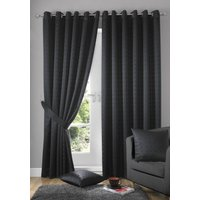 Madison Ready Made Lined Eyelet Curtains Black from Alan Symonds