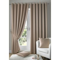 Madison Ready Made Lined Eyelet Curtains Latte from Alan Symonds