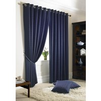 Madison Ready Made Lined Eyelet Curtains Navy from Alan Symonds