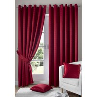 Madison Ready Made Lined Eyelet Curtains Red from Alan Symonds