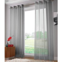 Plain Ring Top Voile Panel Silver from Alan Symonds Ready Made Curtains