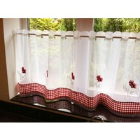 Poppies Cafe Curtain Panel White/Red from Alan Symonds