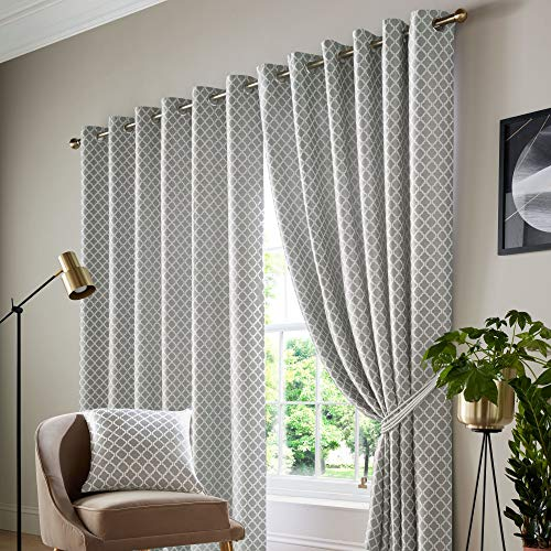 Alan Symonds Jacquard Curtains Eyelet Ring Top Fully Lined, Polyester, Silver, 66 x 72 from Alan Symonds