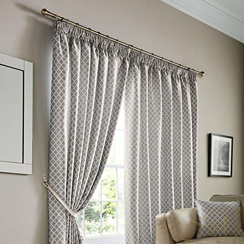 Alan Symonds Jacquard Curtains Pencil Pleat Taped Heading Fully Lined, Polyester, Silver, 90 x 90 from Alan Symonds