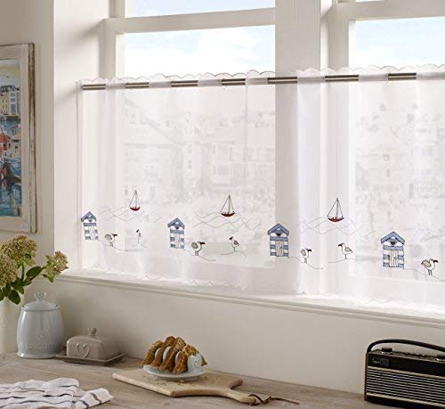 "Alan Symonds Seaside 18"" Café Curtain Panel Kitchen Window Embroidered, White, 59"" x 18"" from Alan Symonds"