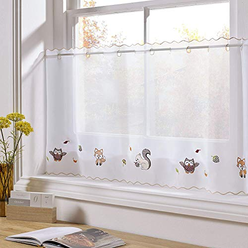 "Alan Symonds Woodland Animals Ready Made Eyelet Top Voile Cafe Curtain Panel (59"" x 18""), White from Alan Symonds"