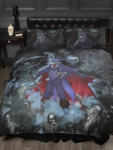 Double Bed Magistus, Alchemy Gothic Duvet / Quilt Cover Bedding Set, Gothik Series Skeletons, Skulls, Graveyard, Grim Reaper, Purple, Black, Red from Alchemy Gothic