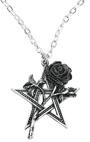 Alchemy Gothic Pentagram and Black Rose Pendant Ruah Vered 5th Element Necklace from Alchemy