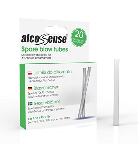 AlcoSense Breathalyser Blow Tubes (Pack of 20) - Suitable for the Lite, Elite, Excel, Pro and Ultra Breathalyzer . from AlcoSense