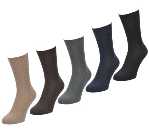 Aler 100% Cotton Loose Soft Socks Size 6-11 - LIGHT Colours - 6 Pairs from Aler