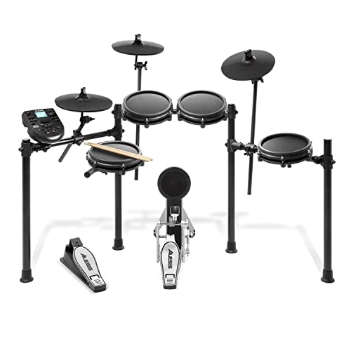 Alesis Nitro Mesh Kit | Eight Piece All-Mesh Electronic Drum Kit With Super-Solid Aluminium Rack, 385 Sounds, 60 Play-Along Tracks, Connection Cables, Drum Sticks & Drum Key included from Alesis