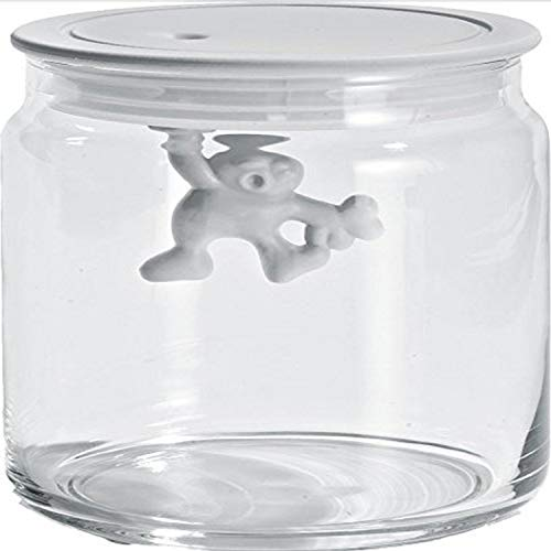 A Di Alessi Glass Gianni Jar A Little Man Holding On Tight Small Kitchen Box with Hermetic Lid in Thermoplastic Resin, White from Alessi