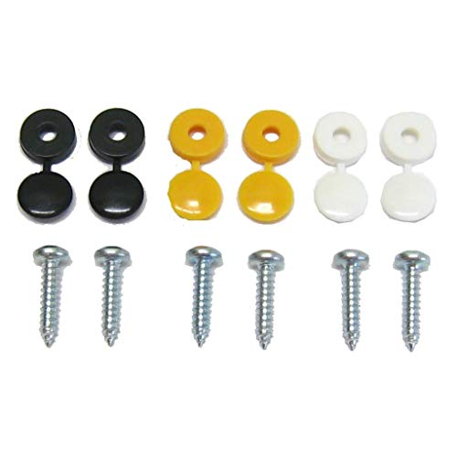 All Trade Direct 6 Pk Caps & Screws Car Number Plate Fixing Fitting Kit from All Trade Direct
