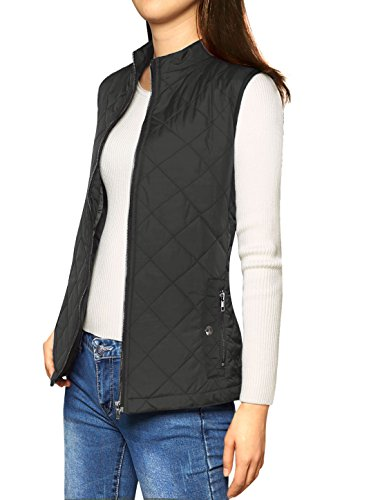 Allegra K Woman Zip Up Front Stand Collar Quilted Padded Vest XS Black from Allegra K