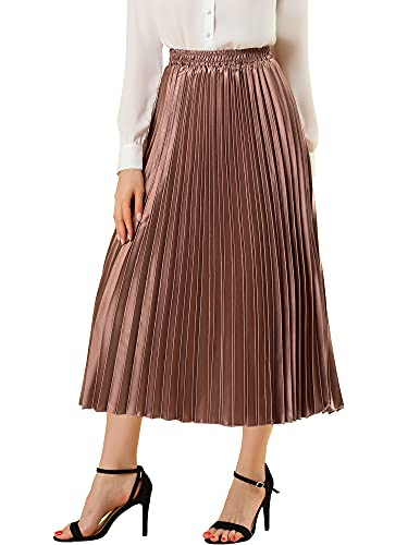 c4d2511267dd Allegra K Ladies' Pleat Skirt Metallic Midi Skirts M (UK 12) Copper from