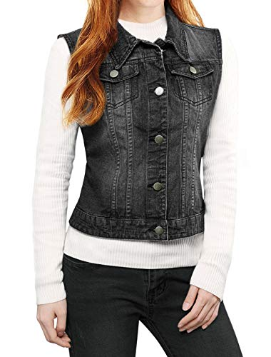 Allegra K Women's Buttoned Washed Denim Vest Waistcoat Jeans Gilet Sleeveless Jacket Black XS (UK 4) from Allegra K